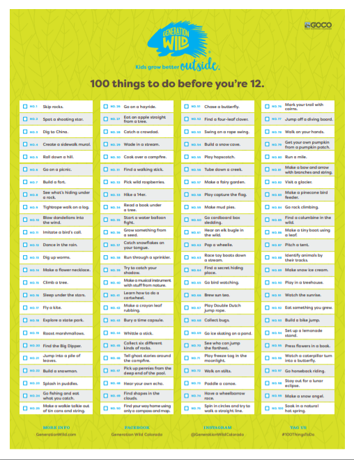 100 Things to Do Before you Are 12